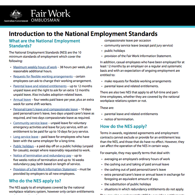 Fair Work Introduction To The National Employment Standards