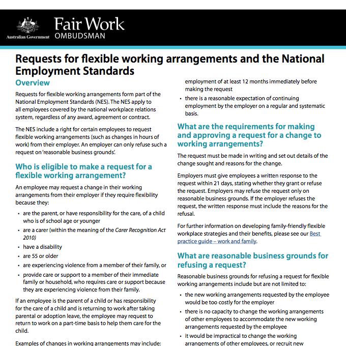 Requests For Flexible Working Arrangements