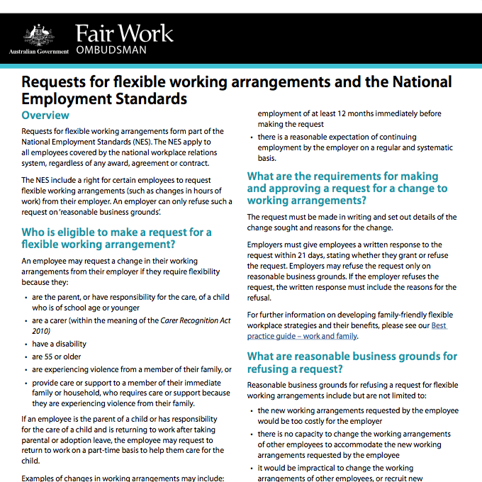 Requests For Flexible Working Arrangements