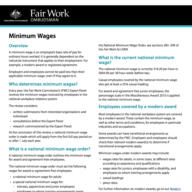 Fair Work Minimum Wages Form